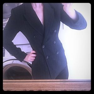 LUXE TAILORED BLACK LINED DOUBLE BREASTED BLAZER